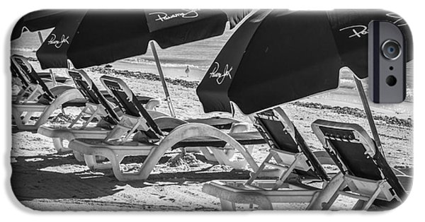 Panama City Beach iPhone Cases - Panama Jack Blues - Higgs Beach - Key West - Square - Black and White  iPhone Case by Ian Monk