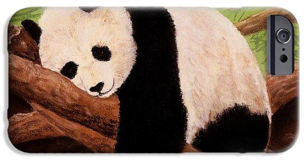 Decor Pastels iPhone Cases - Panda iPhone Case by Anastasiya Malakhova