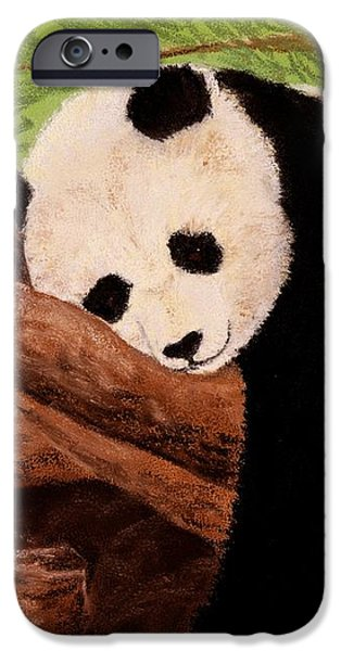 Close Pastels iPhone Cases - Panda iPhone Case by Anastasiya Malakhova
