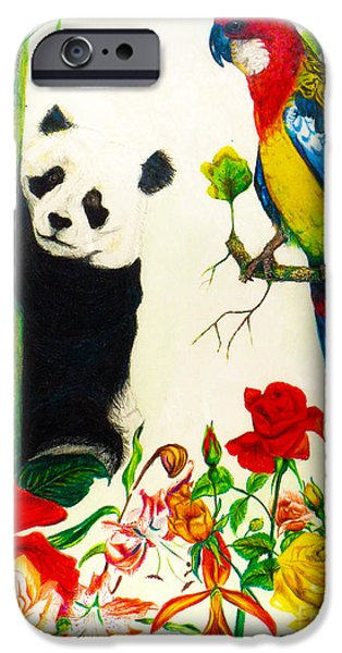 Abstract Collage Drawings iPhone Cases - Panda and Parrot iPhone Case by Jott Harris