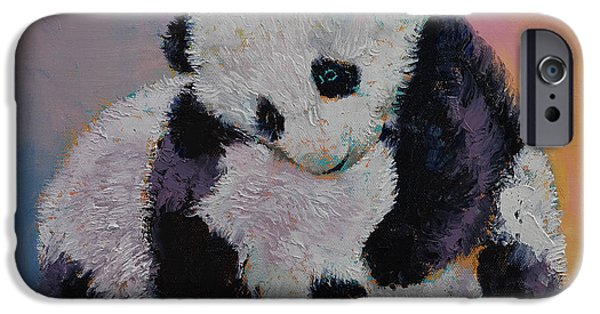 Michael Paintings iPhone Cases - Baby Panda Rumble iPhone Case by Michael Creese