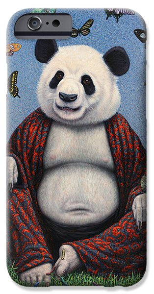 Caterpillar iPhone Cases - Panda Buddha iPhone Case by James W Johnson