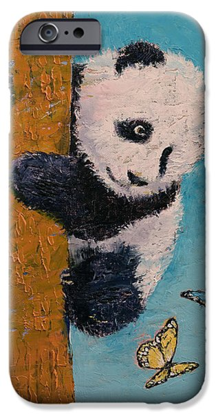 Little iPhone Cases - Panda Butterflies iPhone Case by Michael Creese