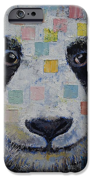 Panda Checkers iPhone Case by Michael Creese