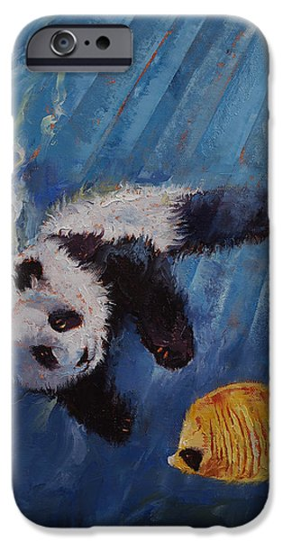 Michael Paintings iPhone Cases - Panda Diver iPhone Case by Michael Creese
