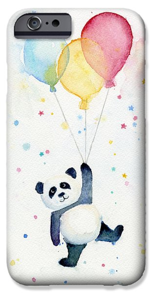 Kids Prints Paintings iPhone Cases - Panda Floating with Balloons iPhone Case by Olga Shvartsur