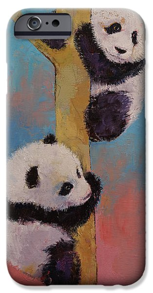 Enfants iPhone Cases - Panda Fun iPhone Case by Michael Creese