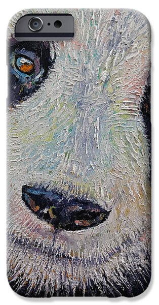 Michael iPhone Cases - Panda Portrait iPhone Case by Michael Creese