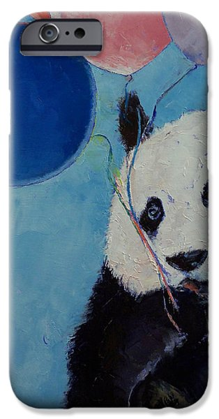 Michael Paintings iPhone Cases - Panda Party iPhone Case by Michael Creese