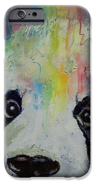 Collectibles Paintings iPhone Cases - Panda Rainbow iPhone Case by Michael Creese