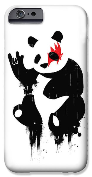 Metal iPhone Cases - Panda Rocks iPhone Case by Budi Satria Kwan