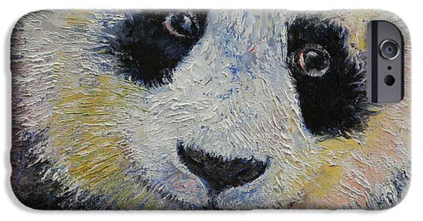 Collectibles Paintings iPhone Cases - Panda Smile iPhone Case by Michael Creese