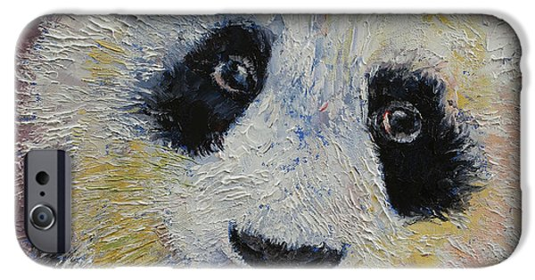Michael Paintings iPhone Cases - Panda Smile iPhone Case by Michael Creese