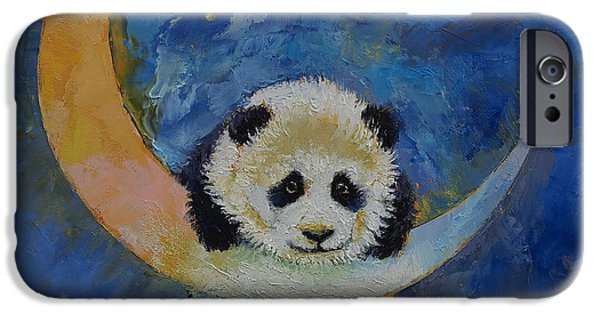 Michael Creese iPhone Cases - Panda Stars iPhone Case by Michael Creese