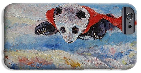 Child iPhone Cases - Panda Superhero iPhone Case by Michael Creese