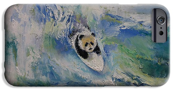 Michael iPhone Cases - Panda Surfer iPhone Case by Michael Creese