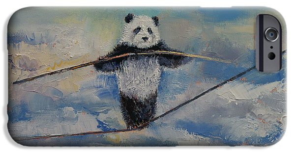 Michael iPhone Cases - Panda Tightrope iPhone Case by Michael Creese