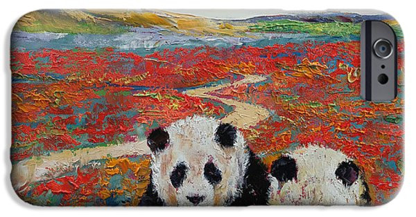 Hallucination iPhone Cases - Pandas iPhone Case by Michael Creese