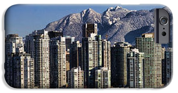 Canada Photograph iPhone Cases - Pano Vancouver Snowy Skyline iPhone Case by David Smith
