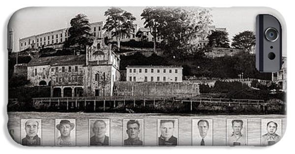 Alcatraz iPhone Cases - Panorama Alcatraz Infamous Inmates Black and White iPhone Case by Scott Campbell