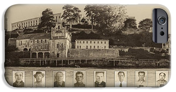 Alcatraz iPhone Cases - Panorama Alcatraz Infamous Inmates Sepia iPhone Case by Scott Campbell