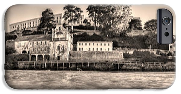 Alcatraz iPhone Cases - Panorama Alcatraz Shaky Sepia iPhone Case by Scott Campbell