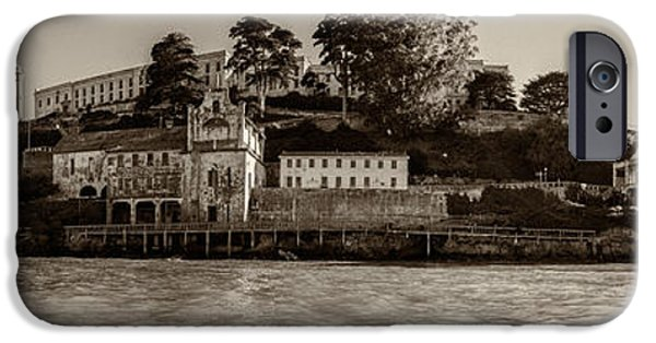 Alcatraz iPhone Cases - Panorama Alcatraz Torn Edges iPhone Case by Scott Campbell