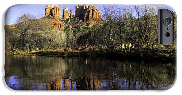 Oak Creek iPhone Cases - Panorama at Red Rocks Crossing in Sedona AZ iPhone Case by Teri Virbickis