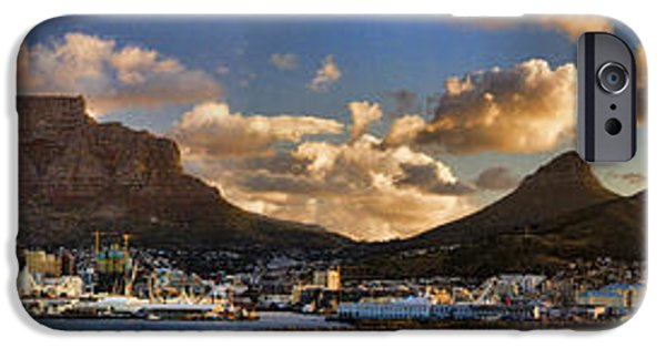Cape Town iPhone Cases - Panorama Cape Town Harbour at Sunset iPhone Case by David Smith