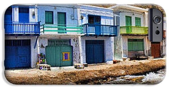 David iPhone Cases - Panorama of Tiny Colorful Fishing Huts in Milos iPhone Case by David Smith