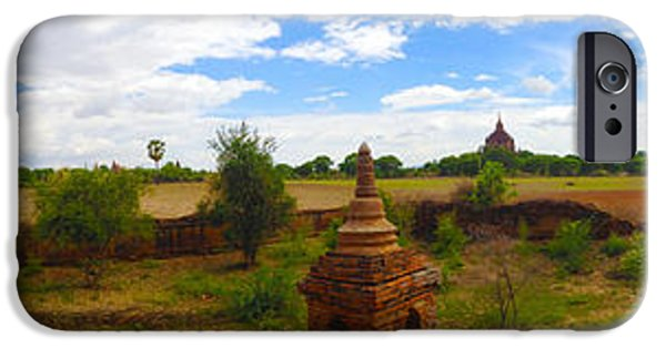 Buddhist iPhone Cases - Panorama of Bagan Landscape near Htilominlo Temple Bagan Burma   iPhone Case by Ralph A  Ledergerber-Photography