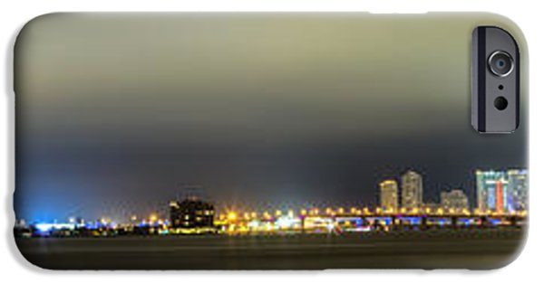 Horizontal iPhone Cases - Panorama of Biscayne Bay in Miami Florida iPhone Case by Andres Leon