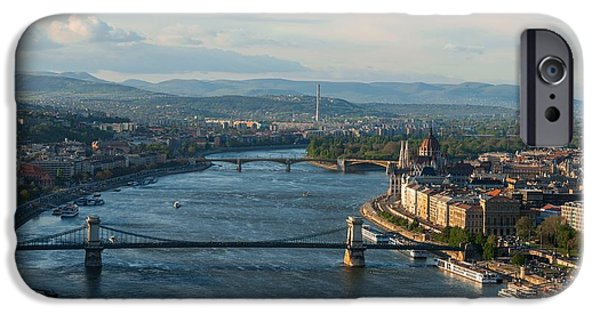Built Structure Pyrography iPhone Cases - Panorama of budapest from Mount Gellert iPhone Case by Oliver Sved