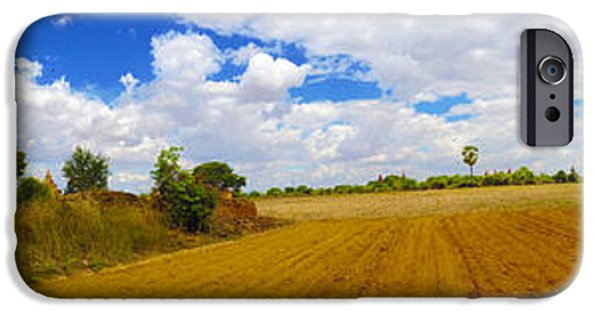 Buddhist iPhone Cases - Panorama Of Buddhist Temple Near Htilominlo Temple Bagan Burma  iPhone Case by Ralph A  Ledergerber-Photography