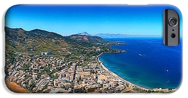 Sea Birds iPhone Cases - Panorama of Cefalu iPhone Case by Stefano Senise