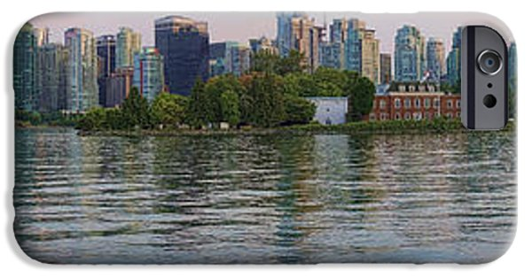 Stanley Park iPhone Cases - Panorama of Coal Harbour and Vancouver Skyline at Dusk iPhone Case by David Smith