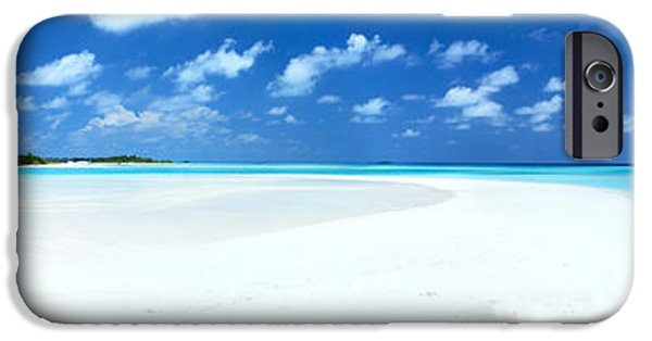Escape iPhone Cases - Panorama of deserted sandy beach and island Maldives iPhone Case by Matteo Colombo