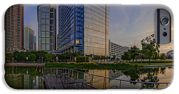 Inauguration iPhone Cases - Panorama of Discovery Green - Downtown Houston Texas iPhone Case by Silvio Ligutti