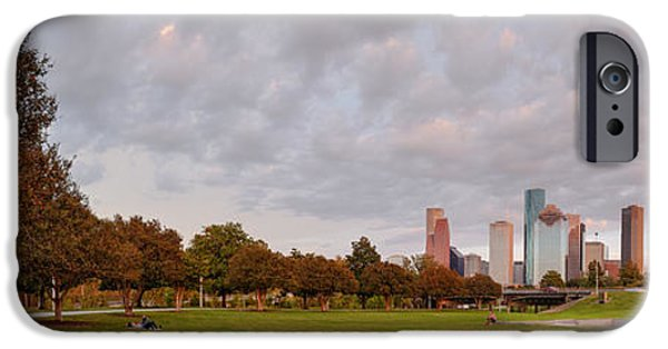 Police iPhone Cases - Panorama of Downtown Houston and Police Memorial - Houston Texas iPhone Case by Silvio Ligutti