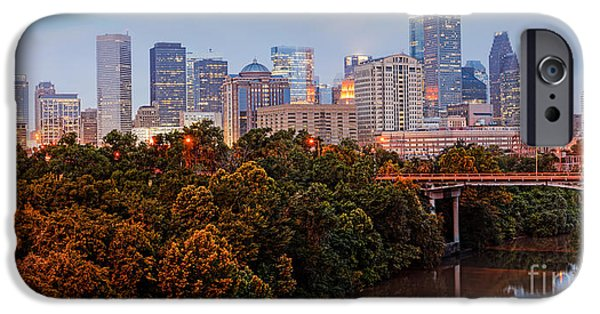Tree. Sycamore iPhone Cases - Panorama of Downtown Houston at Dawn - Texas iPhone Case by Silvio Ligutti