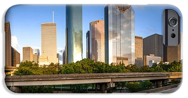 Bank Of America iPhone Cases - Panorama of Downtown Houston from a secret location - Houston Texas iPhone Case by Silvio Ligutti