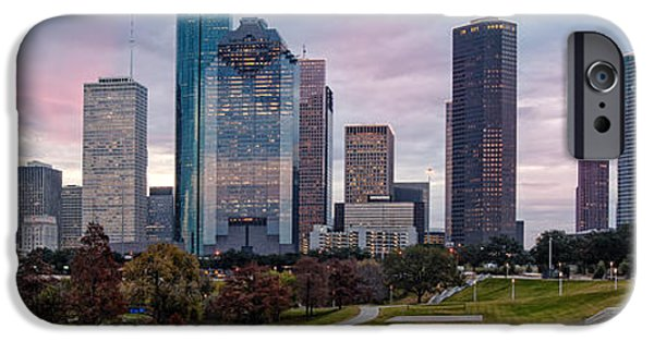 Bank Of America iPhone Cases - Panorama of Downtown Houston from Eleanor Tinsley Park - Houston Texas iPhone Case by Silvio Ligutti