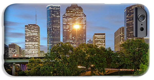 Bank Of America iPhone Cases - Panorama of Downtown Houston Skyline from Sabine St. Bridge - Houston Texas iPhone Case by Silvio Ligutti