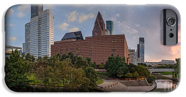 Symphony Hall iPhone Cases - Panorama of Downtown Houston Skyline Theater District - Houston Texas iPhone Case by Silvio Ligutti