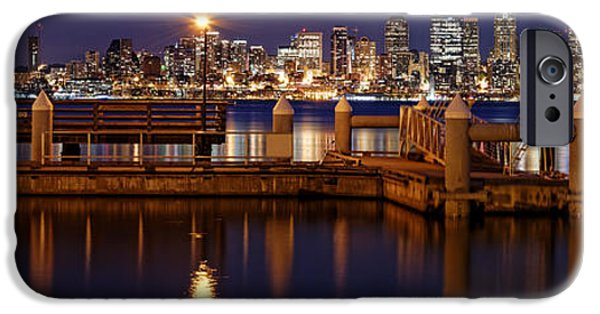 Safeco iPhone Cases - Panorama of Downtown Seattle from Alki Beach - West Seattle Seacrest Park Washington State iPhone Case by Silvio Ligutti