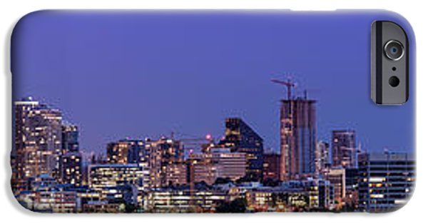 Safeco iPhone Cases - Panorama of Downtown Seattle from GasWorks Park at Twilight Seattle - Washington iPhone Case by Silvio Ligutti