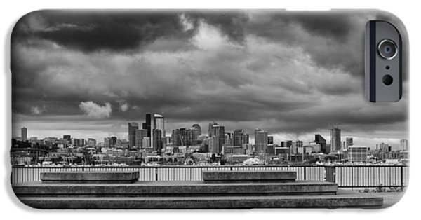 Safeco iPhone Cases - Panorama of Downtown Seattle from GasWorks Park Seattle Black and White - Washington iPhone Case by Silvio Ligutti