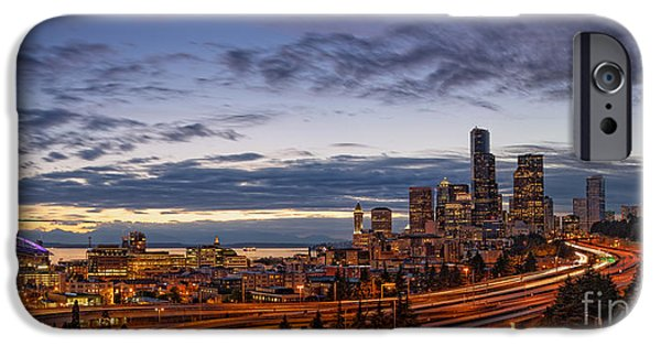 Safeco iPhone Cases - Panorama of Downtown Seattle from Jose Rizal Park - Seattle Washington iPhone Case by Silvio Ligutti