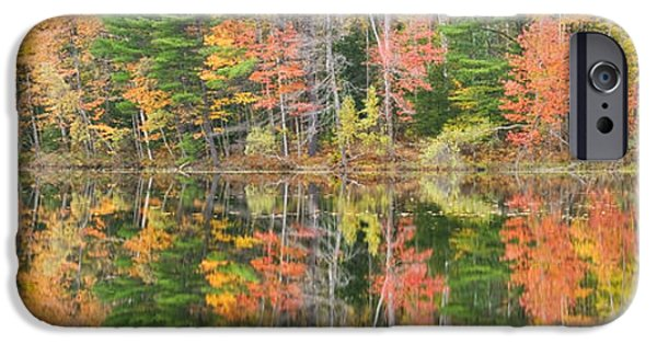 Northeast iPhone Cases - Panorama of Fall Color on Torsey Pond Readfield Maine iPhone Case by Keith Webber Jr