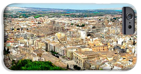 Business Paintings iPhone Cases - Panorama of Granada Spain iPhone Case by Bruce Nutting
